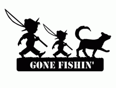 2 Boys Fishing And Dog Gone Fish Free DXF File