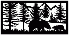 24 X 48 Bear Cub Mountains Plasma Art Free DXF File