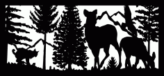 28 X 60 Bobcat Two Doe Eagle Mountains Plasma Art Free DXF File