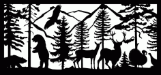 28 X 60 Two Bears Eagle Two Deer Turkeys Plasma Art Free DXF File
