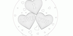 3d Illusion Laser Cut Hearts I Love You Nightlamp Free DXF File