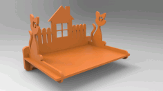 3d Puzzle cat-polka Shelf Laser Cutting Project Free DXF File