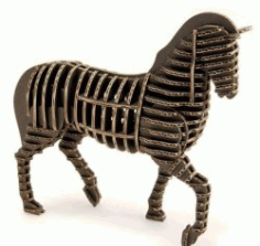 3d Puzzle Horse Model For Laser Cut Free DXF File