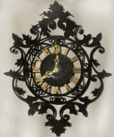 Ancient Art Wall Clock For Laser Cut Cnc Free DXF File