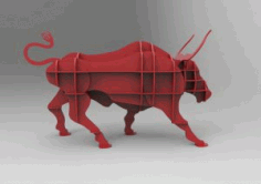 Angry Bull Shelf Puzzle Free DXF File