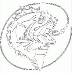 Bass Fish Outline Free DXF File