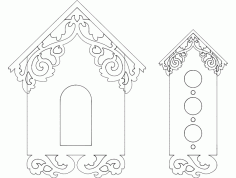 Birds House Front Design Free DXF File
