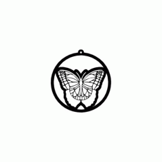Borboleta Butterfly In Circle Free DXF File