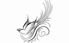 Calligraphy Bird Free DXF File