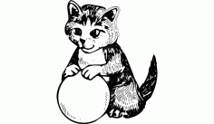 Cat With Ball Free DXF File