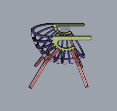 Chair Shell 4 Legs Free DXF File