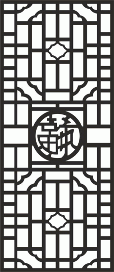 Chinese Style Screen Decoration Vector Free DXF File