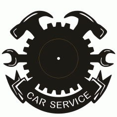 Clock Car Service Free DXF File
