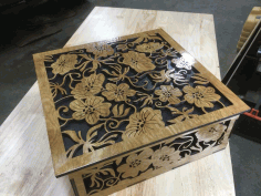 Cnc Wood Floral Engraving Box Free DXF File
