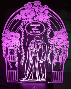 Couple Personalized 3d Illusion Lamp Laser Cutting Template Free DXF File