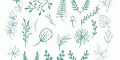 Decor Plants Leaves Free DXF File