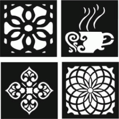 Decorative Motifs Of Flower Squares And Coffee Cups For Laser Cut Cnc Free DXF File