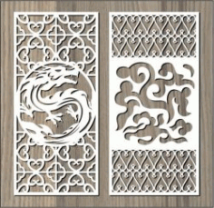 Dragon And Cloud Pattern For Laser Cut Cnc Free DXF File