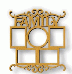 Family Photo Frame For Laser Cut Cnc Free DXF File