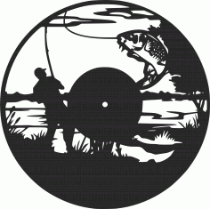 Fishing Vinyl Wall Clock Fisherman Free DXF File