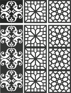 Floral Screen Patterns Design 105 Free DXF File