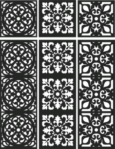 Floral Screen Patterns Design 107 Free DXF File