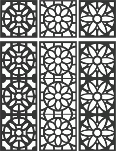 Floral Screen Patterns Design 110 Free DXF File