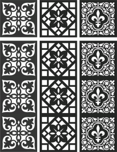 Floral Screen Patterns Design 114 Free DXF File