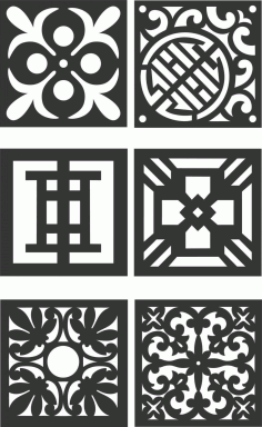 Floral Screen Patterns Design 125 Free DXF File