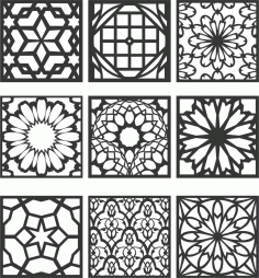 Floral Screen Patterns Design 126 Free DXF File