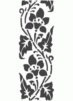 Floral Wall Art Carving Stencil Silhouette Pattern Free DXF File