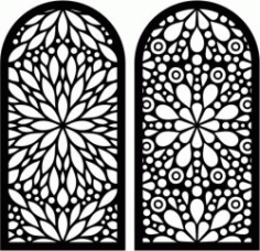 Flower Shaped Window Pattern For Laser Cut Cnc Free DXF File