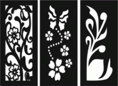 Flowers And Plants Decorated Baffles For Laser Cut Cnc Free DXF File