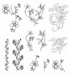 Flowers Vector Free DXF File