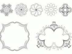 Frame And Flowers Free DXF File