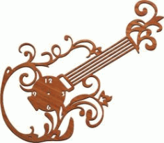 Guitar Clock For Laser Cut Plasma Free DXF File