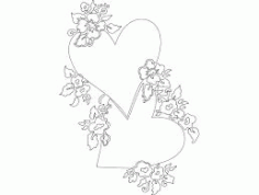 Heart And Flowers Free DXF File