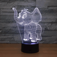 Laser Cut Baby Elephant 3d Night Light Desk Lamp 3d Optical Acrylic Lamp Free DXF File
