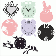 Laser Cut Clock Templates Free DXF File