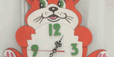 Laser Cut Clock With Cat Kids Free DXF File