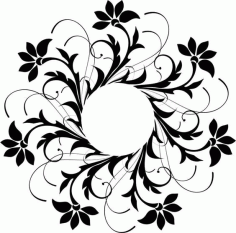 Laser Cut Decoration Floral Design Pattern Free DXF File