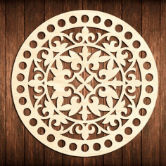 Laser Cut Flower Bottom Circle Wooden Base For Crochet Basket Free DXF File