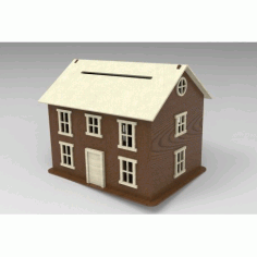 Laser Cut House Piggy Bank Free DXF File