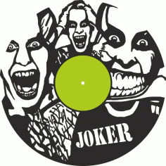 Laser Cut Joker Vinyl Record Wall Clock Template Free Vector File