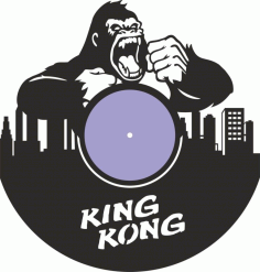 Laser Cut King Kong Vinyl Record Wall Clock Free Vector File