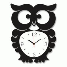 Laser Cut Owl Wall Clock Free Vector File