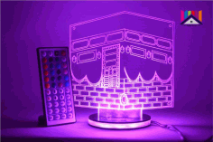 Laser Cut Ramadan Eid 3d Night Light Mecca Masjid Islamic Muslim Free DXF File