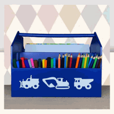 Laser Cut School Stationery Creative Gift Pen Pencil Holder Container Box Set For Children 6mm Free Vector File