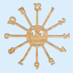 Laser Cut Sun Kids Room Wall Clock Free Vector File