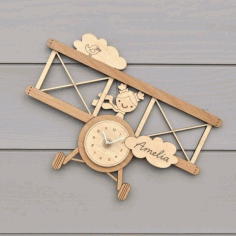 Laser Cut Wall Clock Template For Kids Room Free Vector File